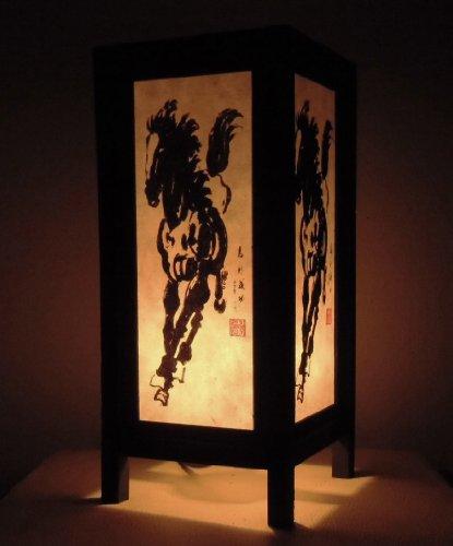 rare-asie-thai-lampe-de-tables-bouddha-style-chevet-blanc-noir-cheval-par-thailande