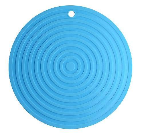 "Spatlus 2 Pack Round Silicone Mat,Silicone Trivet Mats/Hot Pads,Pot Holder,Spoon Rest, Jar Opener,Non Slip & Heat Resistant Kitchen Table Mats,9.45""Diameter (Blue)"