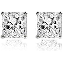 Para hombre el joyero 316L acero inoxidable quirúrgico de tuerca par pendientes con cristales de Auriculares de cuadrado de diamante corte princesa American