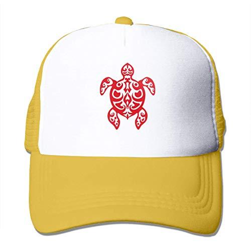 xinfub Unisex Mesh Hats Stammes-Schildkröte einstellbare Snapback Sonnenhut Net rot 10594