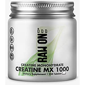 41vZjeQ6PZL. SS300  - Creatine MX1000® 4000 mg Per Serving by Raw One Creatine Monohydrate Tablets | 250 Tablets | 1000mgs Per Tablet | Proven to Increase Size, Strength & Performance | Made in The UK