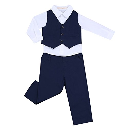 Freebily 3tlg. Baby Jungen Bekleidung Set Kinderanzug Gentleman Somoking Taufe Anzug Langarm Hemd+Weste+Hose in Gr. 68 80 86 92 98 104 Marineblau & Weiß 98-104 / 3-4 Jahre