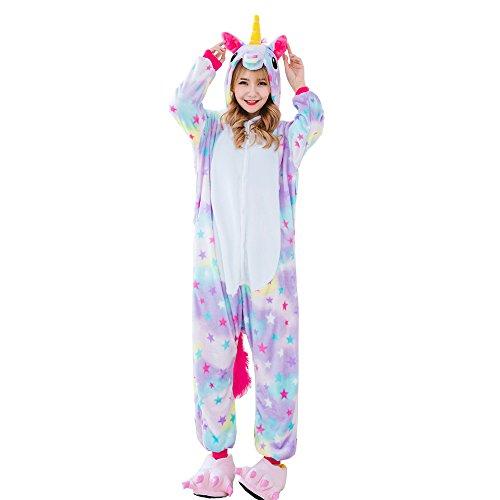Kostüme Freundinnen Für Beste Halloween Mädchen (Unisex Einhorn Liege tragen Cosplay Partywear Kostüm Schlafanzug Pyjamas (Star, XL:)