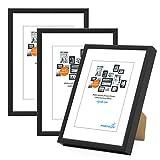 PHOTOLINI 3er Set Alu-Bilderrahmen 13x18 cm Modern Schwarz Aluminium-Rahmen mit Acrylglas