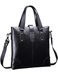 Teemzone Men'S Real Leather Business Messenger Briefcase Tablet Tote Brand New (Black)