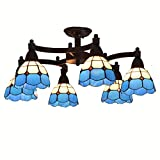 Mediterranean Metal Rocker Arms Living Room Chandeliers Study Room Tiffany Glass Lampshade Ceiling Lamp Meeting Room Country Rustic Ceiling Lights
