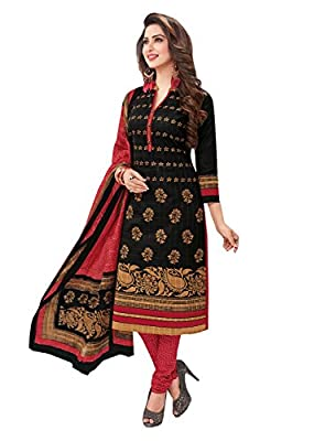 Ishin Cotton Black & Red Printed Unstitched Salwar Suit Dress Material (Anarkali/Patiyala) With Cotton Dupatta