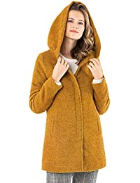 Sublevel Damen Wollmix Mantel mit Kapuze I Warmer Wintermantel Melange Look S - 3XL