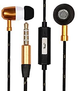 Premium Bullet Style EarBuds Handsfree Headset Earphones For Xolo Cube 5.0 with MIC 3.5mm Jack-GOLD