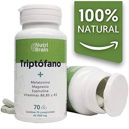Natural Triptófano con Melatonina y Espirulina   70 Comprimidos   Fórmula natural para mejorar el sueño, reducir la ansiedad, aumentar la energía, la concentración y el bienestar