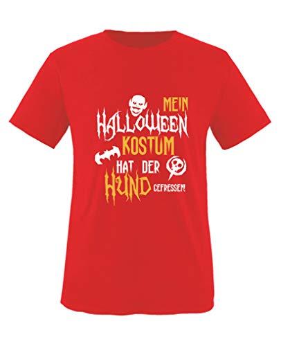 Halloween Kostuem hat der Hund gefressen - Mädchen T-Shirt - Rot/Weiss-Gelb Gr. 110/116 ()