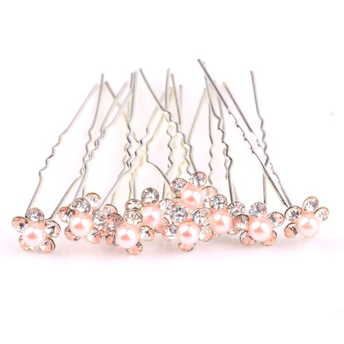 ILOVEDIY 10pcs Mixed Color Crystal Hair Pins with Pearl Accessories for Buns Bridal Weddings (Light Pink)