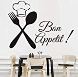 Qbbes Food Meal Wall Stickers Spoon Folk Waterproof Art Vinyl Decal Cafe Kitchen Wall Decals Home Decor Self Adhesive Wallpaper 59X43Cm