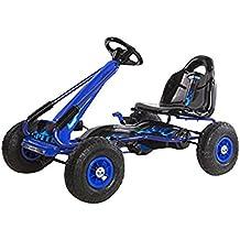 Ricco PB9588A Kart à pédale sur roues en caoutchouc pour enfant Bleu
