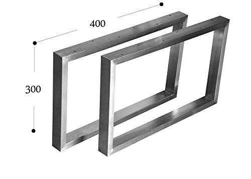 Kufengestell Tischgestell Edelstahl 201 Rahmentisch Tischkufe Tischuntergestell (300mm x400 mm - 1 Paar)
