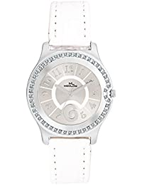 Meclow White Leather Belt Watch, Round Silver Diamond Beaded Dial Analog