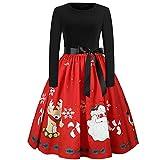 SEWORLD Weihnachten Vintage Christmas Frauen Weihnachtsfrauen Langarm O-Ausschnitt Gedruckt Vintage Kleid Abend Party Kleid(X5-rot,EU-38/CN-XL)