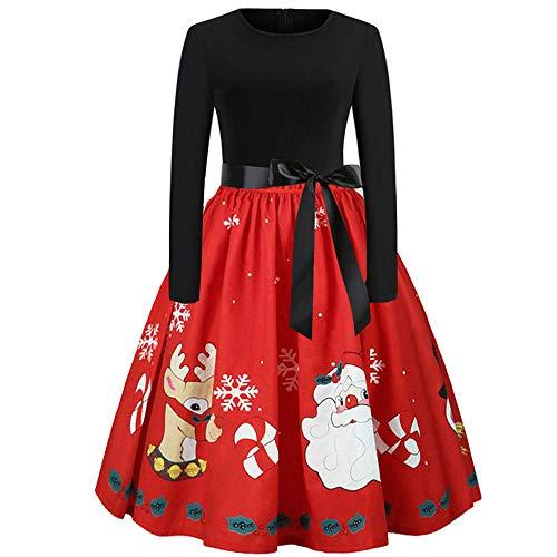 MRULIC 2018 Damen Weihnachts Frauen Langarm Rundhals Druck Vintage Kleider Abend Party Kleid Festliche Damen Ballkleider Tolle(D-Rot,EU-34/CN-S)