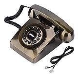 Téléphone Filaire, Vintage Téléphone Fixe à Cadran Rotatif au Style Rétro pour Maison, Bureau, Hôtel.(Bronze)