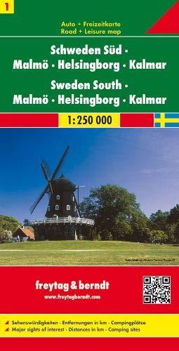 Schweden Süd - Malmö - Helsingborg - Kalmar, Autokarte 1:250.000, Blatt 1, freytag & berndt Auto + Freizeitkarten (Landkarte Schweden)
