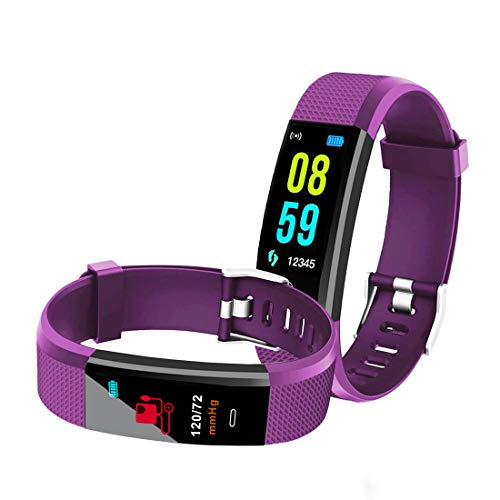 Bingo iP67 Waterproof Smartwatch Bracelet Fitness Band Activity Tracker with Heart Rate Monitor, Screen Sleep Monitor Fitness Tracker for Android or iOS Smartphones (Purple)