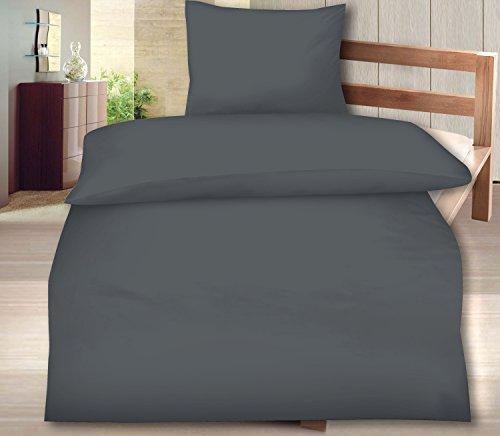 Aminata - moderne Uni-Bettwäsche 135x200 anthrazit Baumwolle Wende-Bettwäsche einfarbig Linon mit (Party Kostüm Themen Für Jugendliche)