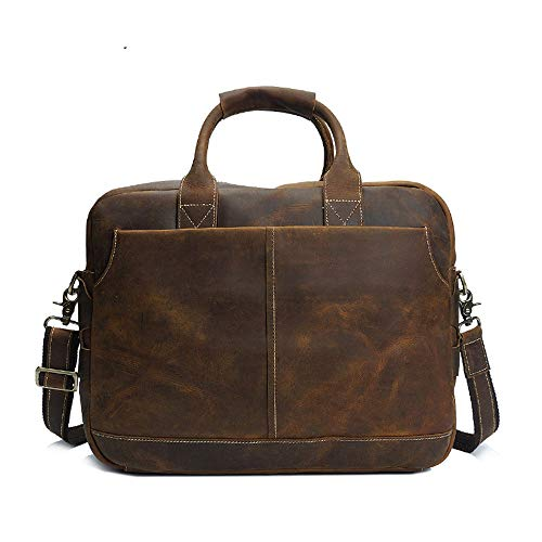 MKHDD Herren Vintage Leder Messenger Bag Business Laptop Aktentasche Schulter Satchel Bag School Distressed Tasche - Distressed Satchel