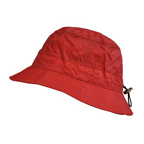 TOUTACOO, Cappello da Pioggia Impermeabile in Nylon - Regolabile Rosso