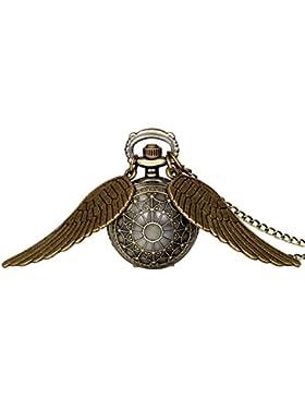 JewelryWe Herren Damen Taschenuhr, Klassiker Vintage Engelsflügel Uhr Anhänger Analog Quarz Kettenuhr Pullover...