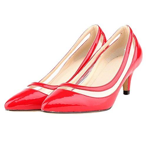 HooH Femmes Transparent Bonbons Couleur Pointu De Travail Escarpins Rouge
