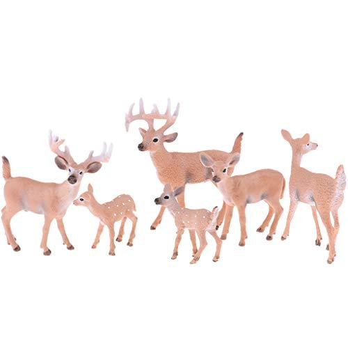 Baoblaze 6 Stück Weißwedelhirsch Figuren Wildtiere Spielfiguren Tierfiguren Dekofiguren Kinder Spielzeug
