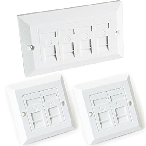 Quad & 2x Double CAT6 Wall Face Plates-4 Port RJ45 Ethernet Network Data Socket