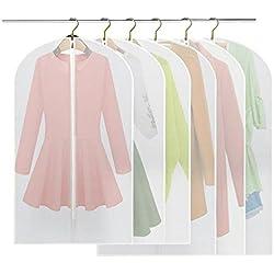 6 Stücke Kleidersack - inkl. 3 von 120 x 60 cm und 100 x 60 cm Anzugsack Kleiderhülle Anzughülle aus atmungsaktivem Material - erstklassiger Schutz für Ihre Anzüge und Kleider