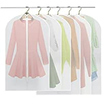 Fundas, breezo Pack de 6 PEVA a prueba de fundas para la ropa bolsa para ropa, Full cremallera bolsa para traje, lavable transparente funda para vestidos (3pcs 60*100cm +3pcs 60*120cm)