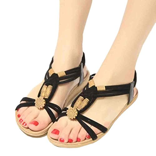 Fulltime®Femmes Bohemia Sweet Beaded Sandales Clip Toe Sandales Chaussures de plage Noir