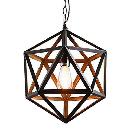 Zceillamp Industrial Hanging Ceiling Lights Creative Pendant Lights Iron Shade E27 Bulb Black Metal Frame-Cafe Bar Loft Bedroom Dining Room Lighting Decoration Lamp,M