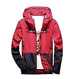 TIFIY Männer Herbst-Winter-Alphabet Druckfarbe Kollision Hoodie im Freien Jacken-Mantel(rot,EU 42/CN L)