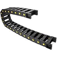 SOURCING MAP sourcing map R55 25mm x 77mm Black Plastic Open Type Cable Drag Chain Wire Carrier 1M Length