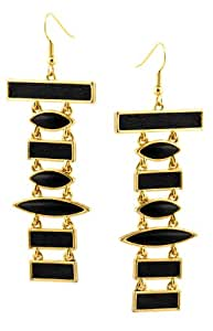 House Of Harlow 14ct Gold Plated Black Leather And Cabochon Totem Pole Earrings