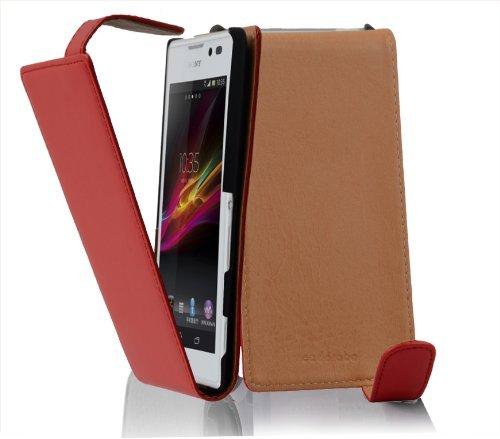Preisvergleich Produktbild Cadorabo Hülle für Sony Xperia C - Hülle in CHILI ROT – Handyhülle aus glattem Kunstleder im Flip Design - Case Cover Schutzhülle Etui Tasche