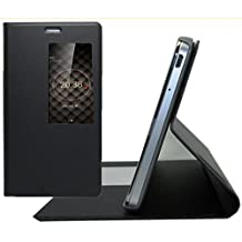 Prevoa ® 丨 Flip S - View Funda Cover Case para Huawei Ascend P8 5.2 pulgada Android Smartphone - Negro