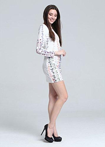 Baymate Femme Manche Longue Imprimé Floral Mini Robe Bureau Entreprise Fête Robes Comme l'image