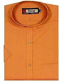 Helg Mens Formal Cotton Plain Mandarin Chinese Collar Half Sleeves Comfort Fit Shirt