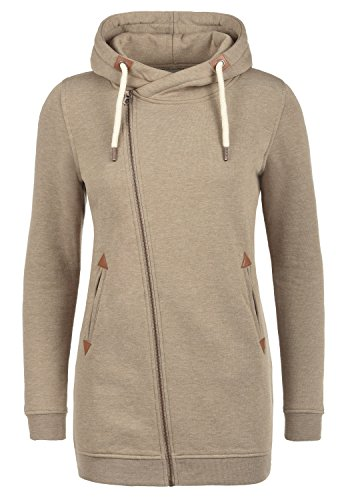 DESIRES Vicky Zip Hood Long Damen Lange Sweatjacke Kapuzenjacke Sweatshirtjacke mit Kapuze und Fleece-Innenseite, Größe:XL, Farbe:Sand Melange (8409)