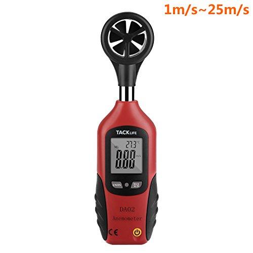 Tacklife DA02 Anemometro Portabile Misuratore Digitale LCD Tester di Velocità di Vento e Forza Eolica con Sensore Sensibile - Vento Rilevatore