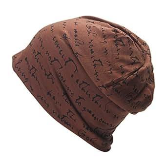 JTC Femme Homme Chapeau Unisexe de Tricot avec Lettre Elastique -brun