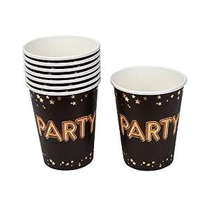 Neviti- Glitz and Glamour Party Vasos de papel, Color black/gold (773529)