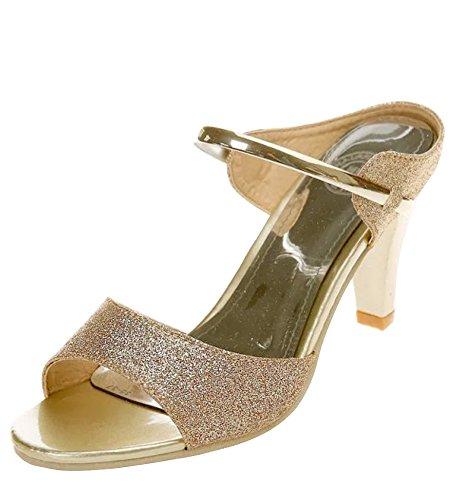 Minetom Femmes Mode Talon Haut Des Sandales Sparkle Glitter Peep Toe Tongs Filles Été Slippers Chaussures Or
