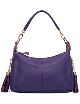 Ausverkauf-Yaluxe Damen Doppel Reißverschlussed Pockets echtes Leder Top Handle Handtasche Cross Body Schultertasche...