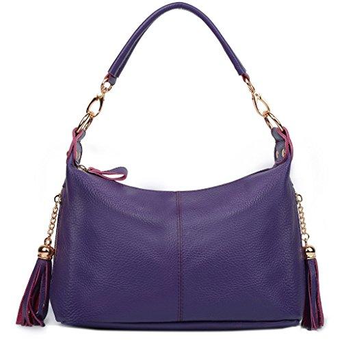 Ausverkauf-Yaluxe Damen Doppel Reißverschlussed Pockets echtes Leder Top Handle Handtasche Cross Body Schultertasche klein Tasche lila